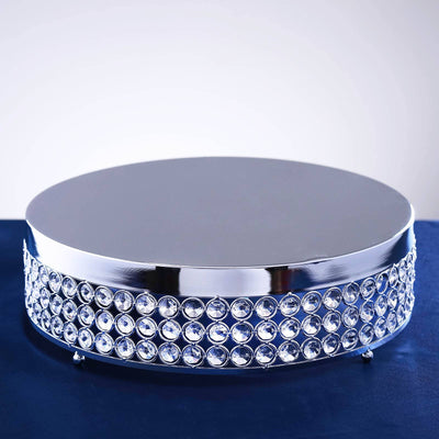 "13.5"" Silver Crystal Beaded Metal Riser Centerpiece Cake Stand"