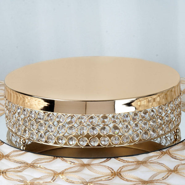 "13"" Gold Crystal Beaded Metal Riser Cake Stand"