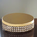 "13.5"" Gold Crystal Beaded Metal Riser Cake Stand"