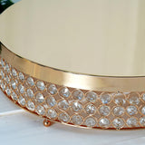 "Grand Wedding Beaded Crystal Metal Cake Stand - Gold - 15.5"" Diameter"