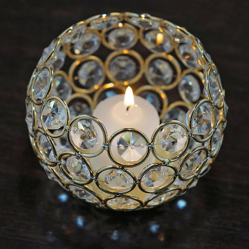 "Adorable Votive Tealight Wedding Crystal Candle Holder - Gold - 4"" Dia x 3.5"" Tall"