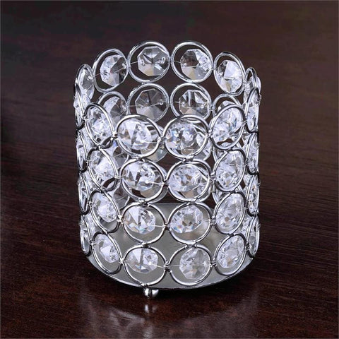 "Exquisite Wedding Votive Tealight Crystal Candle Holder - 3.25"" Dia x 3.5"" Tall"