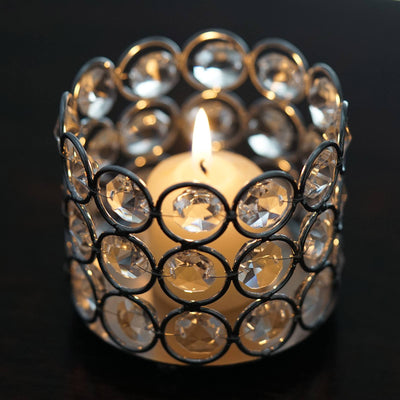 "3.25"" Dia x 2.75"" Tall Bejeweled Blitz Votive Tealight Crystal Candle Holder"