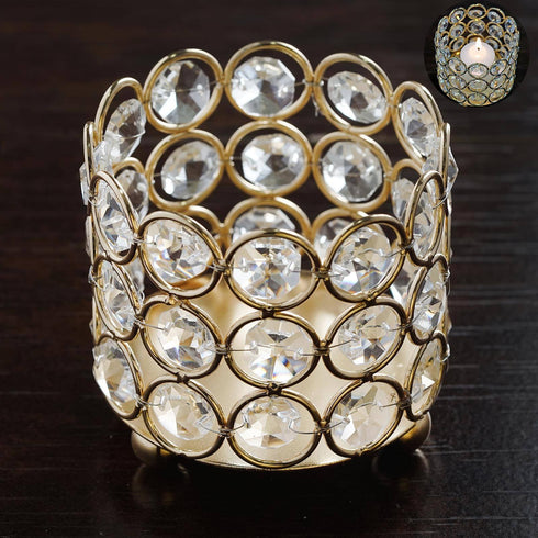 "Bejeweled Blitz  Votive Tealight Wedding Crystal Candle Holder - Gold - 3.25"" Dia x 2.75"" Tall"
