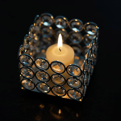 "Illuminating Square Votive Tealight Wedding Crystal Candle Holder - 3.25"" W x 3.25"" L x 2.5"" H"