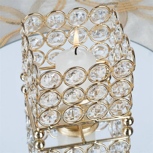 "2.5"" Tall Gold Illuminating Square Votive Tealight Wedding Crystal Candle Holder"