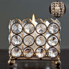 "3"" Tall Gold Illuminating Square Votive Tealight Crystal Candle Holder"