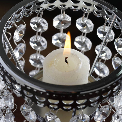 Elegant Metal Votive Tealight Crystal Candle Holder Wedding Centerpiece - 7.5""