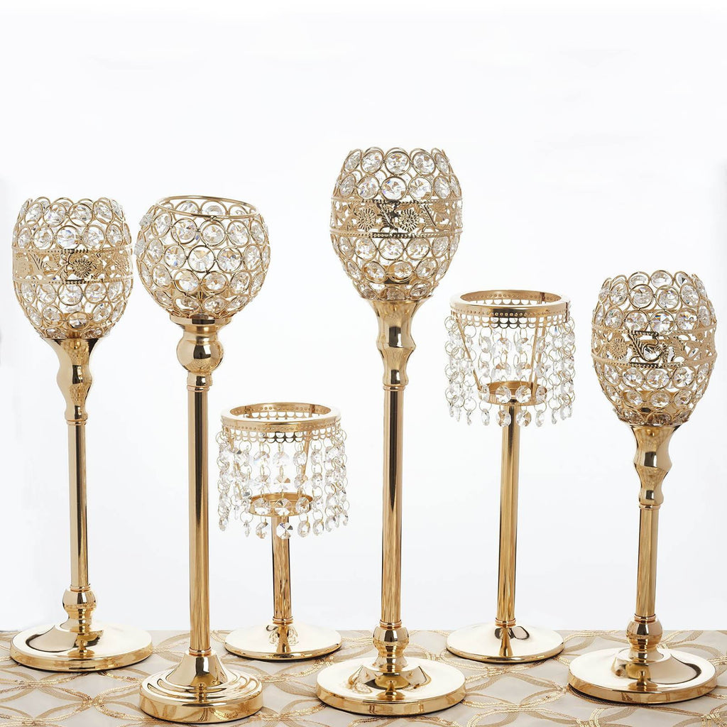 Quot gold elegant metal votive tealight crystal candle