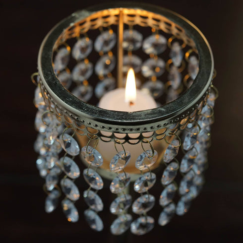 Stunning  Metal Votive Tealight Crystal Candle Holder Wedding Centerpiece - Gold - 11.5""