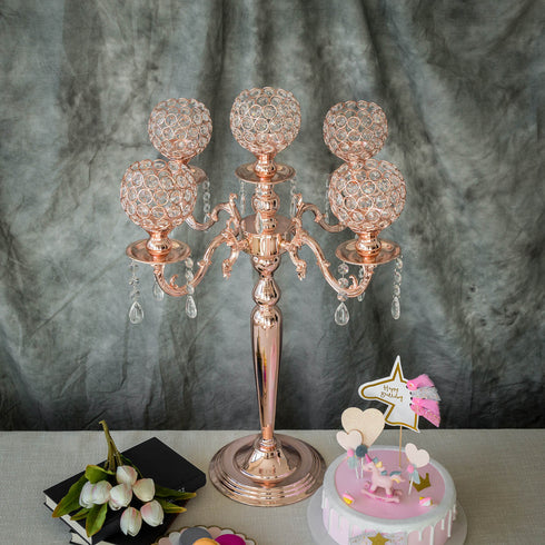"25"" Tall 5 Arm Rose Gold Crystal Beaded Globe Metal Candelabra Candle Holder"