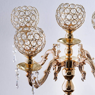 25 tall 5 arm gold crystal beaded globe metal candelabra votive candelabra chandelier crystal votive candle holder wedding centerpiece 25 aloadofball Choice Image