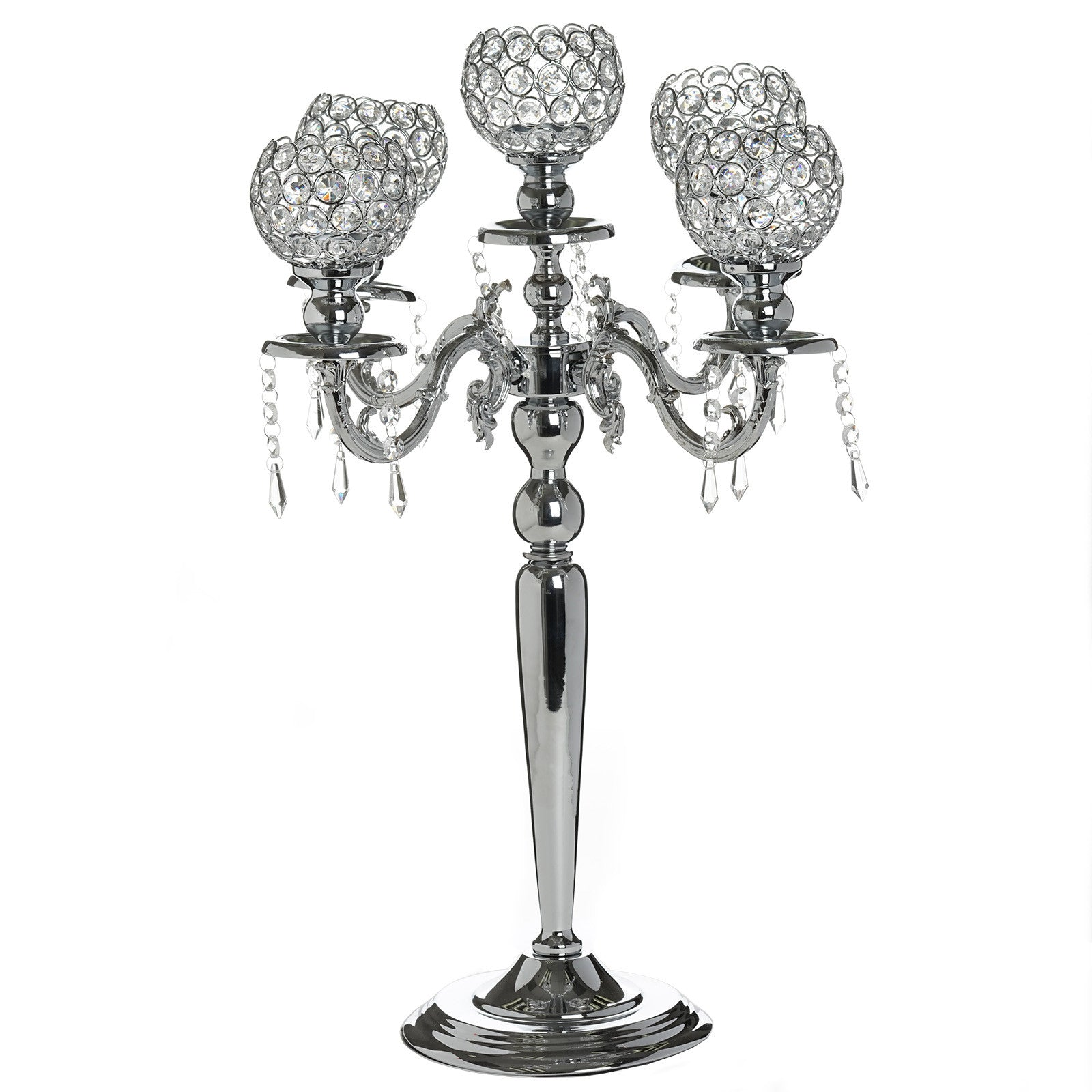 25 Tall Silver Crystal Votive Candelabra Chandelier Candle Holder Tabletop Centerpiece