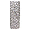 "16"" Tall Silver Fully Beaded Pillar Candle Holder Crystal Candle Stand"
