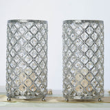 "2 Pack | 9"" Tall Metallic Silver Crystal Beaded Pillar Votive Tea light Candle Holder"