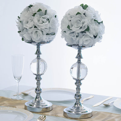 2 Pack 13 Tall Silver Metallic Floral Vase Riser With Clear Acrylic