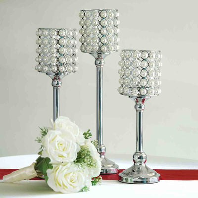 Set of 3 | White Pearl Beaded Silver Votive Candle Holder- 12"