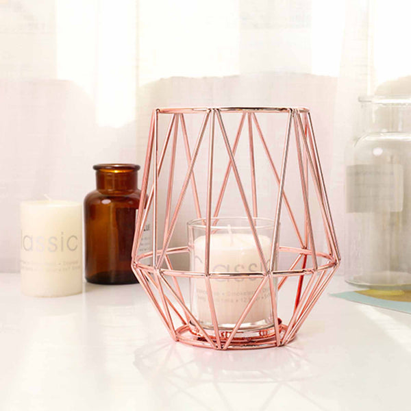 "2 Pack | 6"" Geometric Metal Wired Candle Holder Set With Glass Votive Holder Set - Blush 