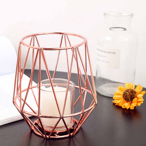 "2 Pack | 6"" Rose Gold Metal Geometric Design Candle Stand With Glass Votive Holder"