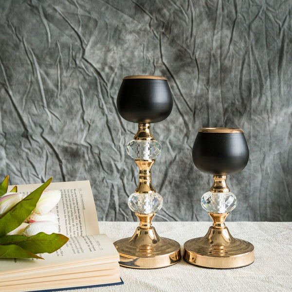 "2 Pack Gold/Black Metal with Acrylic Crystal Tealight Votive Candle Holder Set - 7""/11"""