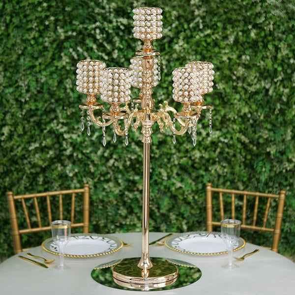 DIY Dual Use Gold Pearl Beaded Metal Floor Candelabra (5FT) & Table Centerpiece (3FT) With Crystal Pendants