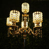 DIY Dual Use Gold Pearl Beaded Metal Floor Candelabra (5 FT) & Table Centerpiece (3 Ft) With Crystal Pendants