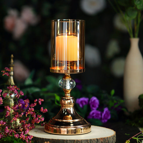 "13"" Tall Gold Metal Pillar Votive Candle Holder With Hurricane Glass Cover"