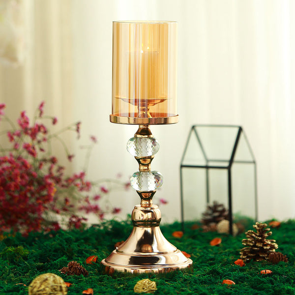 15 Quot Tall Gold Metal Pillar Candle Holder With Hurricane