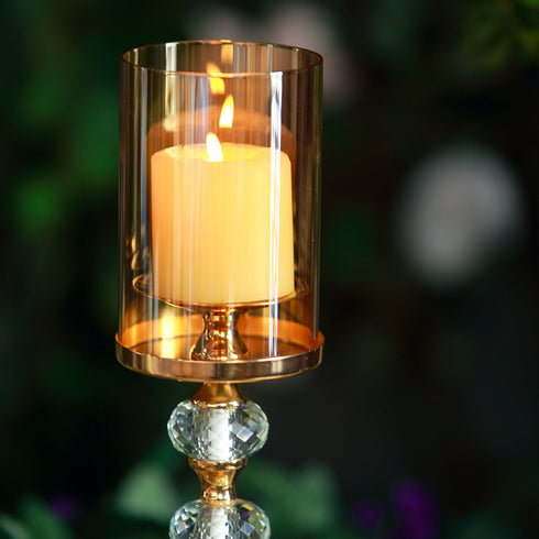 "17"" Tall Gold Metal Pillar Votive Candle Holder With Hurricane Glass Cover"