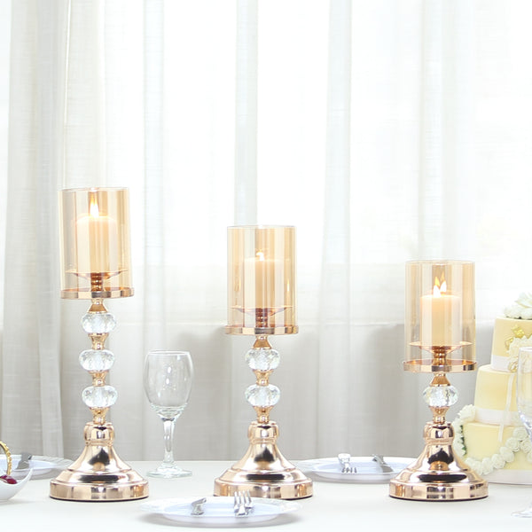 Set of 3 | Gold Metal Pillar Candle Holder Set With Hurricane Glass Tubes - 13"