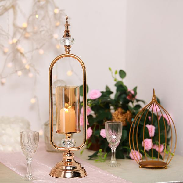 22 Tall Gold Hurricane Votive Metal Candle Holder With Glass Tube And 2 Diamond Crystals Efavormart