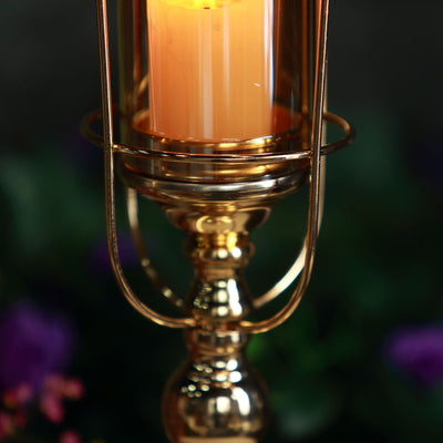 15 Gold Metal Coiled Design Glass Hurricane Candle Holder