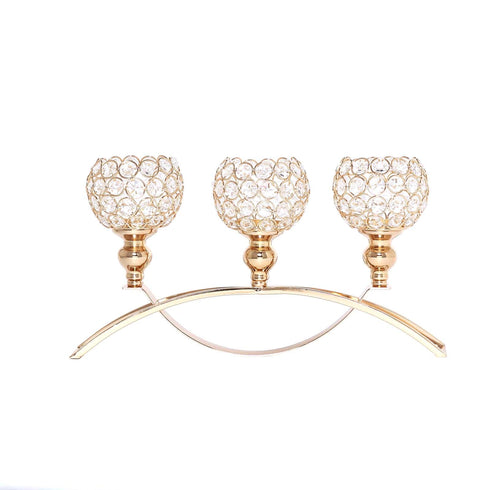 "16"" - 3 Arm Gold Crystal Candle Holder - Arch Bridge Design Goblet Candle Holders"