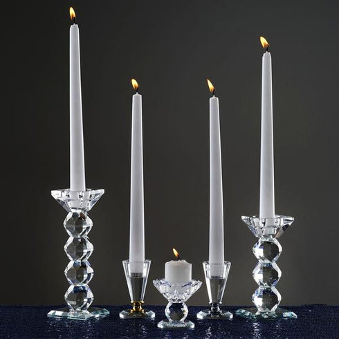 "3"" Gemcut Egyptian Handcrafted Glass Crystal Votive Candlestick Holder With Silver Metal Stem Table Top - 1pcs"