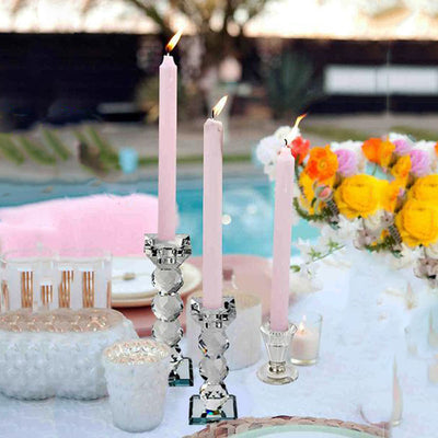 "3"" Gemcut Glass Crystal Votive Candlestick Holder With Silver Metal Stem"