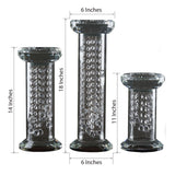 Set Of 3 Premium Handmade Clear Glass Pillar Centerpiece Vase Chandelier Tabletop With  33 Crystal Chains