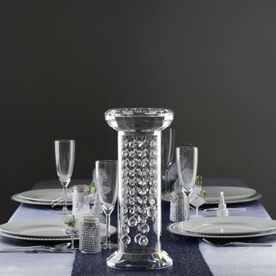 "14"" Gemcut Egyptian Handcrafted Premium Glass Crystal Pillar Vase Table Top Centerpiece Decoration With 11 Crystal Chains"