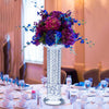 "14"" Gemcut Premium Glass Crystal Pillar Vase Candle Holder With 11 Crystal Chains"