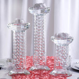 "11"" Gemcut Egyptian Handcrafted Premium Glass Crystal Pillar Vase Table Top Centerpiece Decoration With 11 Crystal Chains"
