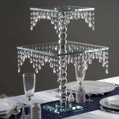 "21"" Gemcut Egyptian Handcrafted Glass Chandelier Crystal Cake Riser Stand - 1pcs"