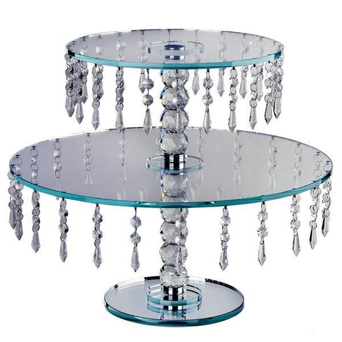 "16"" Handcrafted Glass Top Crystal Cup Cake Riser Centerpiece Stand"