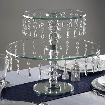 "16"" Handcrafted Glass Top Crystal Cup Cake Riser Stand"