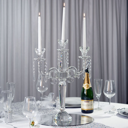 "21"" Tall Handcrafted 3 Arm Crystal Glass Tabletop Candelabra Taper Votive Candle Holder Centerpieces - Premium Collection"