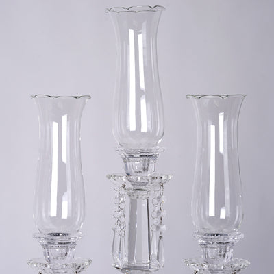 "36"" Tall Handcrafted 5 Arm Crystal Glass Tabletop Candelabra Hurricane Taper Candle Holder Centerpieces - PREMIUM Collection"