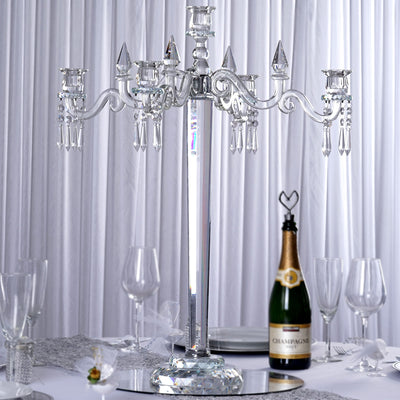 2 5 ft tall 5 arm premium crystal glass candle holder efavormart