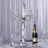 "27"" Tall Handcrafted Gem Cut 5 Arm Crystal Glass Tabletop Candelabra  Taper Pillar Votive Candle Holder Centerpieces - PREMIUM Collection"