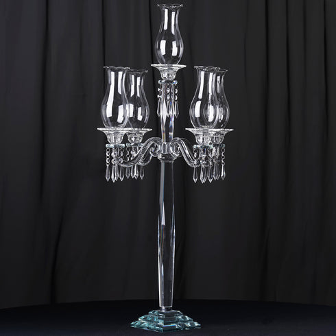 "40"" Tall Handcrafted 5 Arm Crystal Glass Table Top Candelabra Hurricane Taper Candle Holder Centerpieces - PREMIUM Collection"
