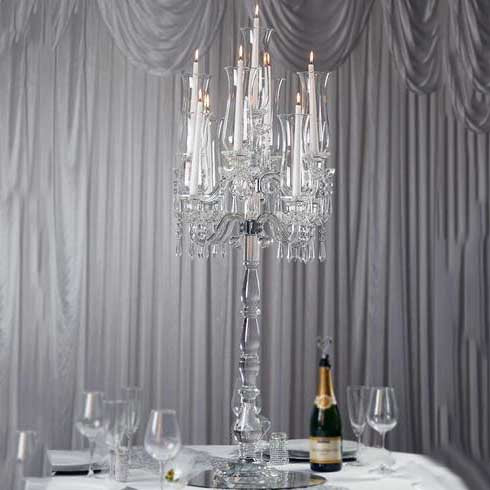 "46"" Tall 9 Arm PREMIUM Hurricane Taper Crystal Glass Candle Holder Centerpiece"
