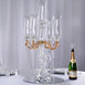 "31"" Tall 5 Arm Gold Sculpted Crystal Glass Table Top Candelabra Hurricane Taper Candle Holder Centerpieces - PREMIUM Collection"