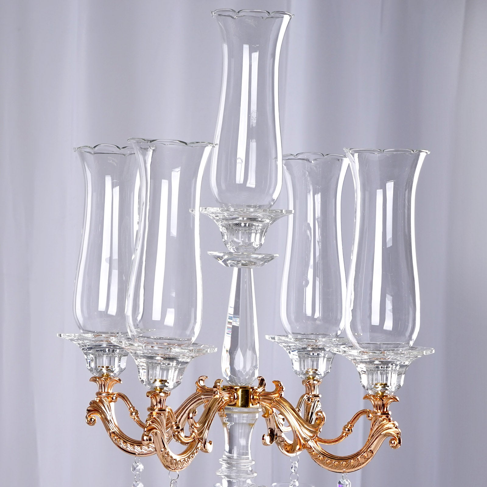31 Tall 5 Arm Gold Sculpted Crystal Glass Table Top Candelabra Hurricane Taper Candle Holder